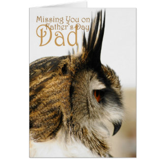 Missing you on father's day dad, Eagle Owl reflect Greeting Card