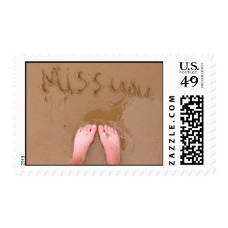 Missing you on the beach postage stamp