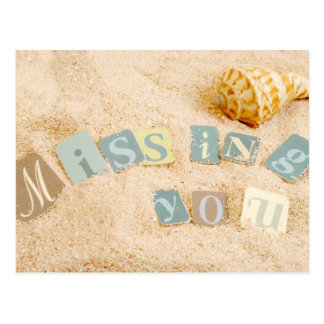 Missing you on the sand with seashell postcard