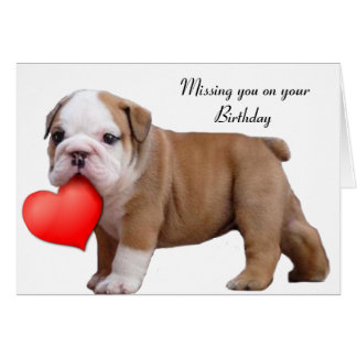 Missing you on your Birthday Bulldog puppy card