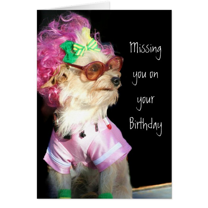Missing you on your Birthday Toy Mix dog card