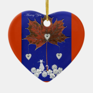 Missing You Double-Sided Heart Ceramic Christmas Ornament