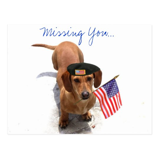 MIssing you Patriotic dachshund Postcard