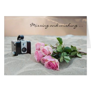 Beach Themed Missing You-roses on beach Card