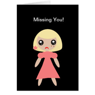 Missing You sad Girl Card