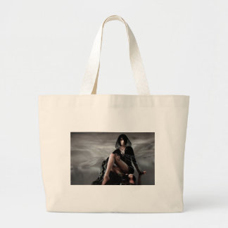 Missing You Veiled Goth Woman Large Tote Bag