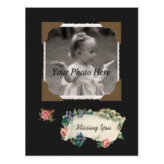 Missing You Vintage Photo Scrapbook Postcard