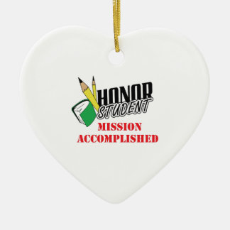 MISSION ACCOMPLISHED Double-Sided HEART CERAMIC CHRISTMAS ORNAMENT