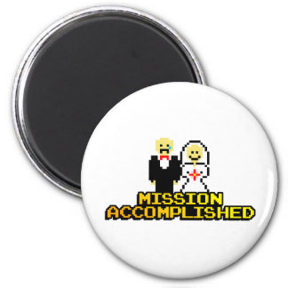 """""""Mission Accomplished"""" Marriage (8-bit) 2 Inch Round Magnet"""