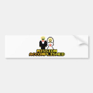 """Mission Accomplished"" Marriage (8-bit) Bumper Sticker"