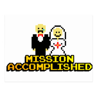 """Mission Accomplished"" Marriage (8-bit) Postcard"