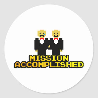 """""""Mission Accomplished"""" Marriage (Gay, 8-bit) Classic Round Sticker"""