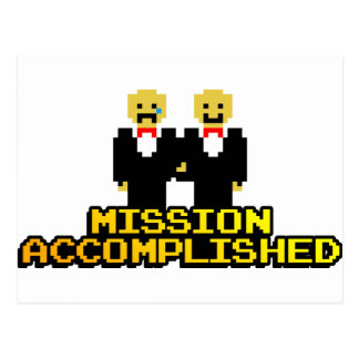 """""""Mission Accomplished"""" Marriage (Gay, 8-bit) Postcard"""
