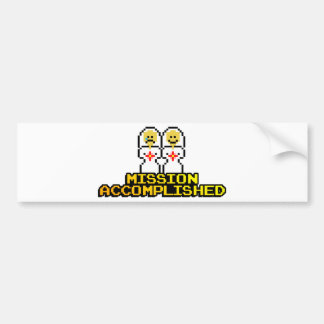 """Mission Accomplished"" Marriage (Lesbian, 8-bit) Bumper Sticker"