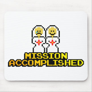 """""""Mission Accomplished"""" Marriage (Lesbian, 8-bit) Mouse Pad"""