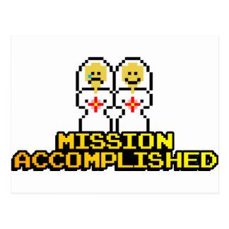 """Mission Accomplished"" Marriage (Lesbian, 8-bit) Postcard"