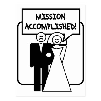 Mission Accomplished Marriage Postcard