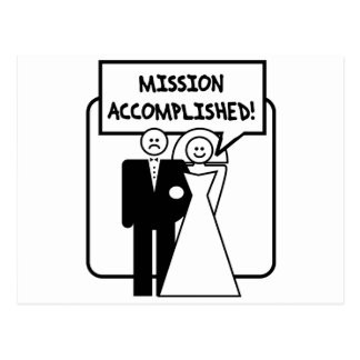 Mission Accomplished Marriage Postcard