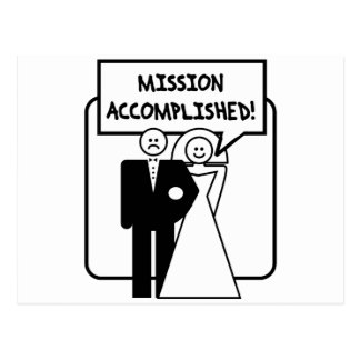 """Mission Accomplished"" Marriage Postcard"