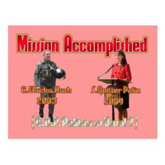 Mission accomplished Palin Bush PCard Postcard