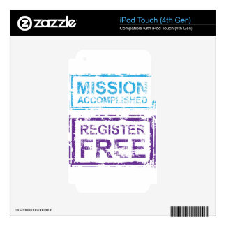 Mission Accomplished Register Free Stamp Decal For iPod Touch 4G