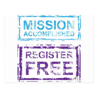 Mission Accomplished Register Free Stamp Postcard