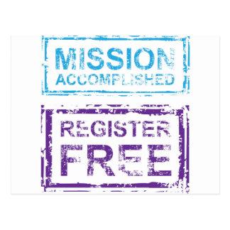 Mission Accomplished Register Free Stamp Postcard