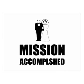 Mission Accomplished Wedding Bride Groom Postcard