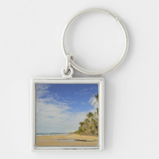 Mission Beach 2 Silver-Colored Square Keychain