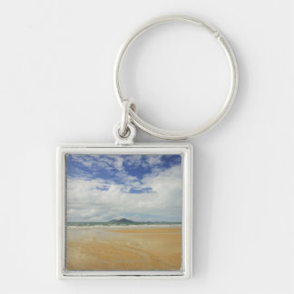 Mission Beach and Dunk Island 2 Silver-Colored Square Keychain