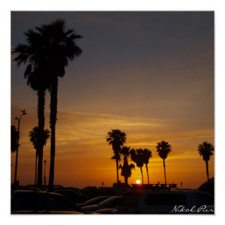 Mission Beach California Sunset Poster
