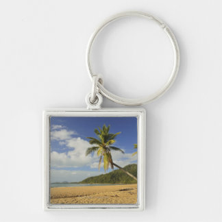 Mission Beach Silver-Colored Square Keychain