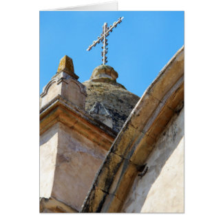 Mission church tower and cross card