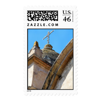 Mission church tower and cross postage