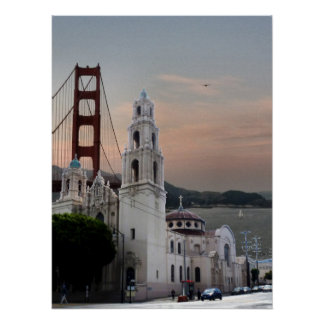 Mission Dolores Basilica And Golden Gate Bridge Poster