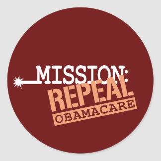 Mission: Repeal ObamaCare Classic Round Sticker