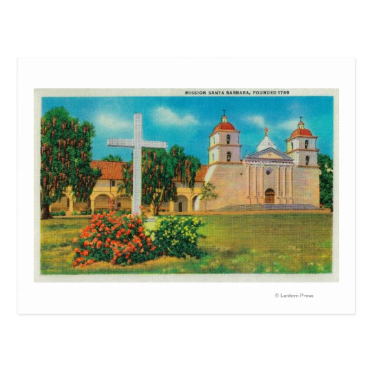Mission Santa Barbara View Postcard