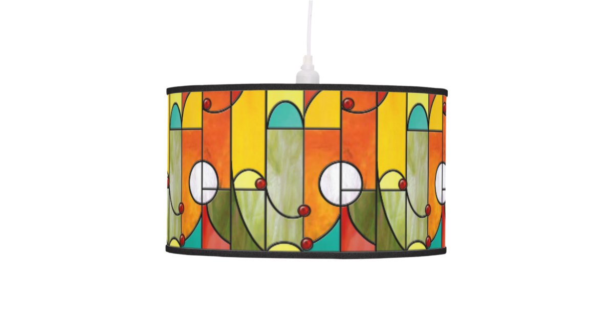 Mission Style Tiffany Stained Glass Pendant Lamp Zazzle Com