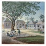 "Missionary Buildings, St. Johns, Antigua (w/c and Tile<br><div class=""desc"">Image:166261  Missionary Buildings,  St. Johns,  Antigua (w/c and gouache) (see also 166262). French School,  (19th century). Private Collection,  Photo &#169; Bonhams,  London,  UK.  Art,  Fine Art.</div>"