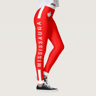 MISSISSAUGA Instructor Canadian Maple on Red (cus) Leggings