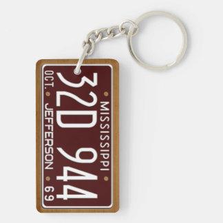 Mississippi 1969 Vintage License Plate Keychain Acrylic Keychain