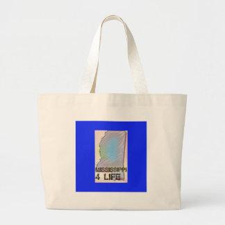 """""""Mississippi 4 Life"""" State Map Pride Design Large Tote Bag"""