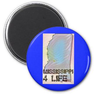 """""""Mississippi 4 Life"""" State Map Pride Design Magnet"""