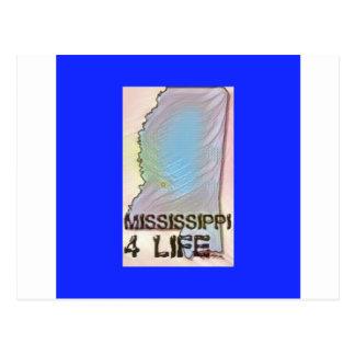 """""""Mississippi 4 Life"""" State Map Pride Design Postcard"""