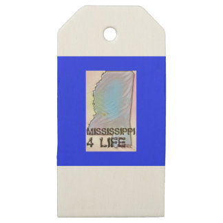 """""""Mississippi 4 Life"""" State Map Pride Design Wooden Gift Tags"""