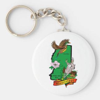 Mississippi Basic Round Button Keychain