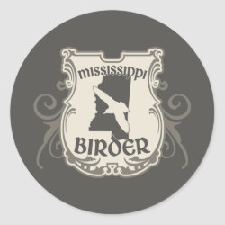 Round Sticker with Mississippi Birder design