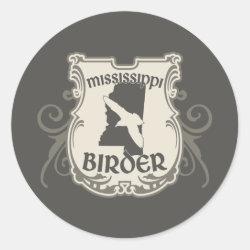 Round Sticker with Mississippi Birder design