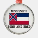 Mississippi Born Round Metal Christmas Ornament