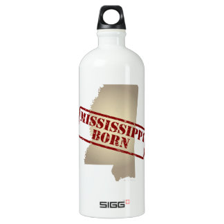Mississippi Born - Stamp on Map Aluminum Water Bottle